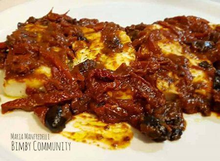 Filetti di Merluzzo al Varoma con Pomodori Secchi e Olive Nere
